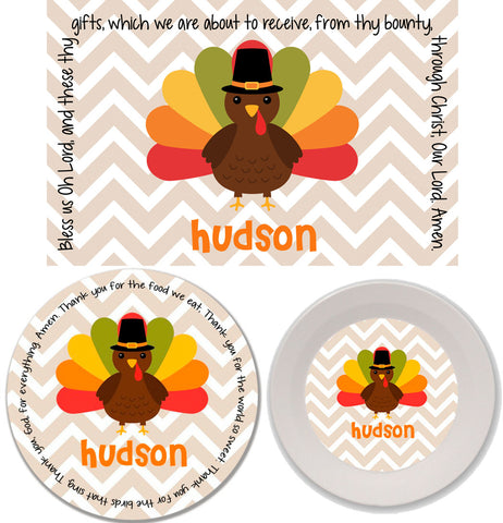Thanksgiving Chevron Turkey Personalized Mealtime Set | 3-Piece