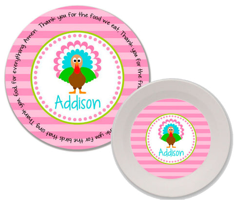 Thanksgiving Turkey Girl Personalized Mealtime Set | 2-Piece