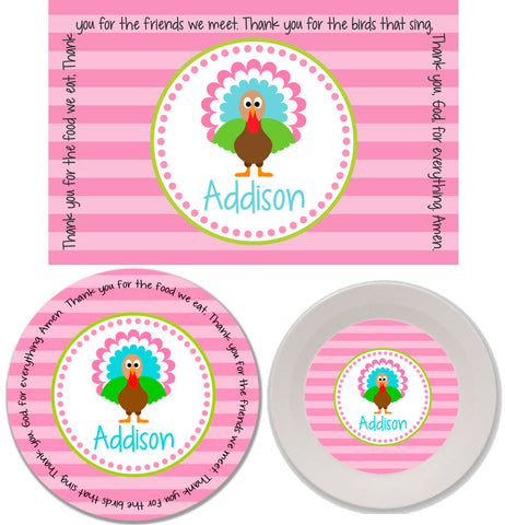 Thanksgiving Turkey Girl Personalized Mealtime Set | 3-Piece