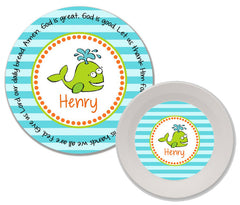 Whale Boy Personalized Mealtime Set | 2-Piece