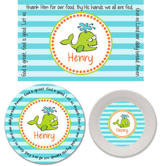 Whale Boy Personalized Mealtime Set | 3-Piece