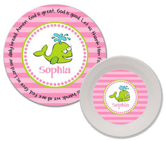 Whale Girl Personalized Mealtime Set | 2-Piece