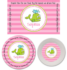 Whale Girl Personalized Mealtime Set | 3-Piece