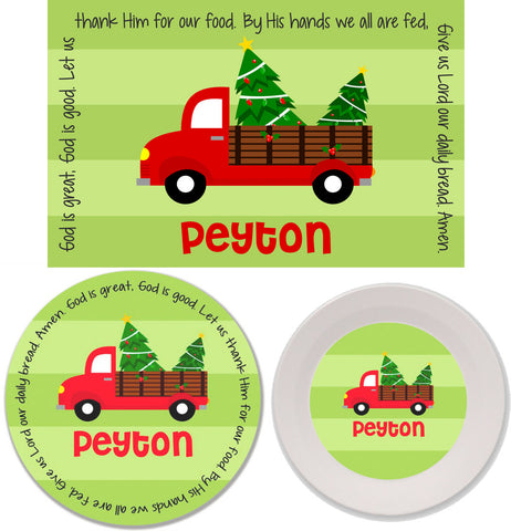 Christmas Red Truck Personalized Mealtime Set | 3-Piece