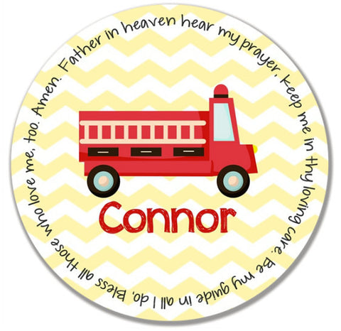 Fire Truck Personalized Kids Melamine Plate