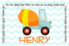 Construction Personalized Children's Placemat