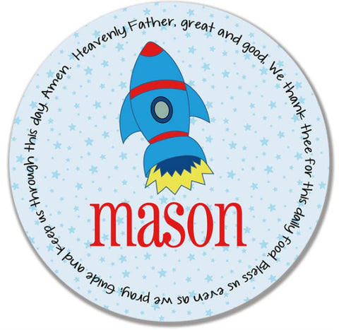 Rocket Personalized Kids Melamine Plate