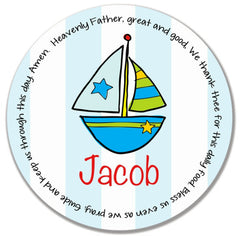 Sailboat Personalized Kids Melamine Plate