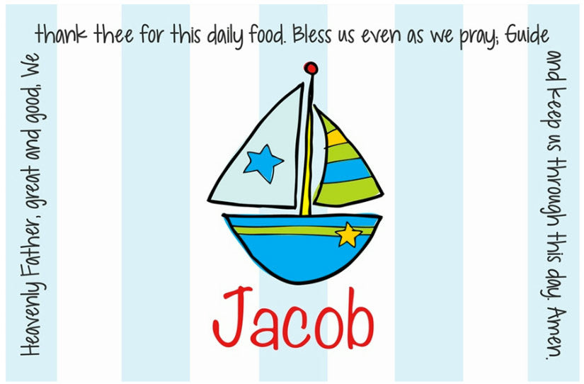 Sailboat Personalized Kids Placemat