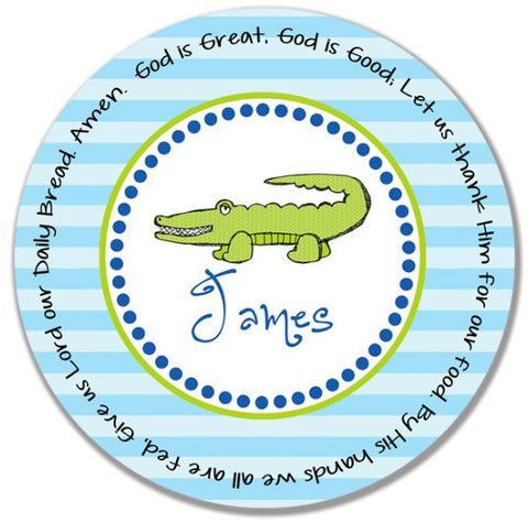 Alligator Boy Personalized Kids Melamine Plate