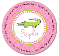Alligator Girl Personalized Kids' Melamine Plate