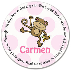 Monkey Girl Personalized Kids Melamine Plate