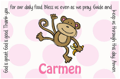 Monkey Girl Personalized Kids Placemat
