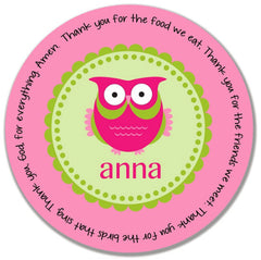 Owl Girl Personalized Kids Melamine Plate