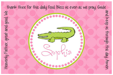 Alligator Girl Personalized Kids Placemat