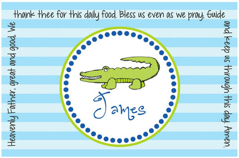 Alligator Boy Personalized Kids Placemat