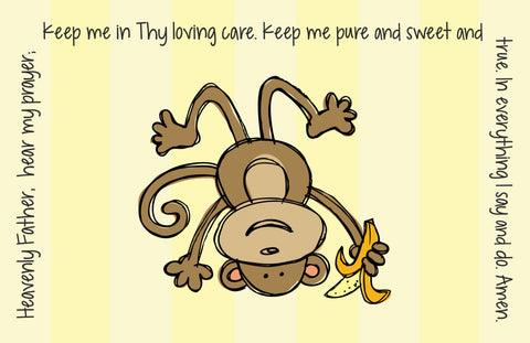 Monkey Boy Quick Ship Prayer Place Mat