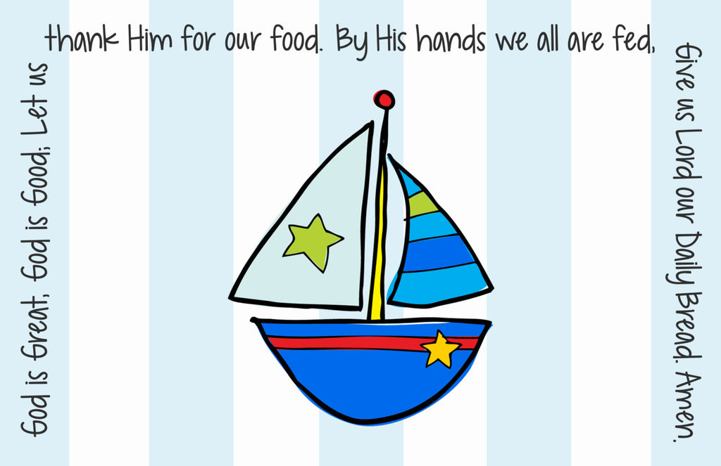 Sailboat Quick Ship Prayer Place Mat