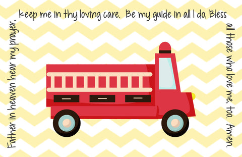 Fire Truck Quick Ship Prayer Place Mat