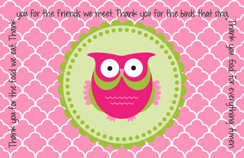 Owl Girl Quick Ship Prayer Place Mat
