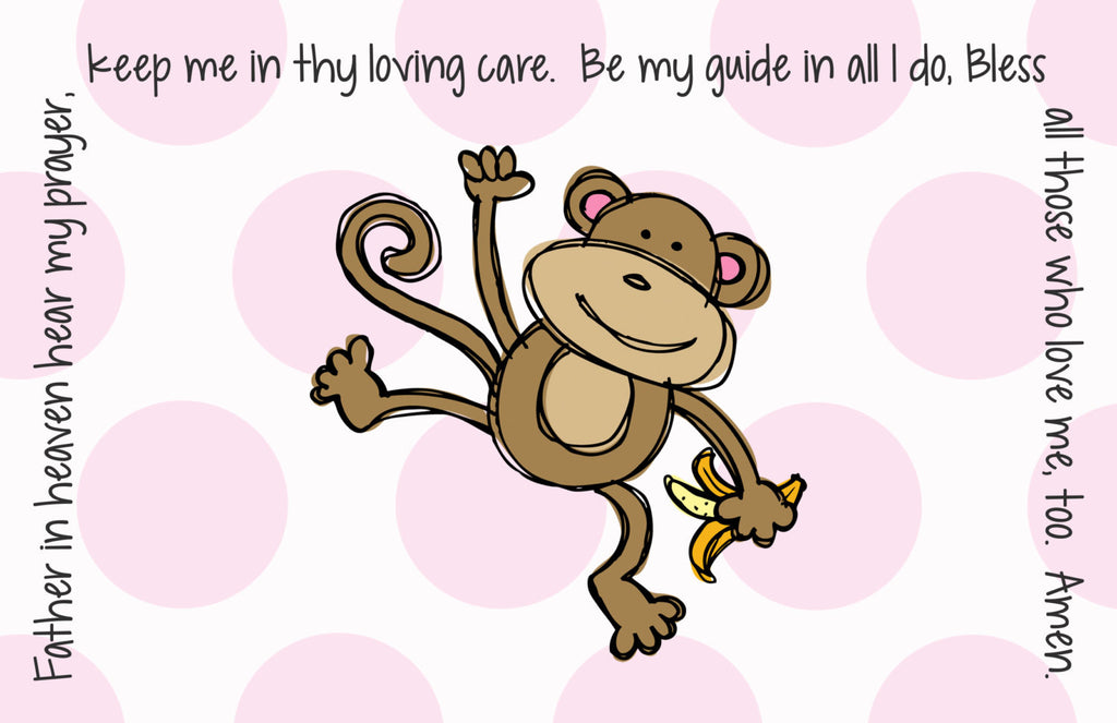 Monkey Girl Quick Ship Prayer Place Mat