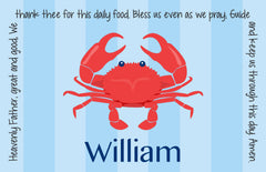 Crab Boy Personalized Kids Placemat