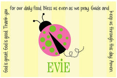 Ladybug Pink Personalized Kids Placemat
