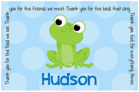Frog Boy Personalized Kids Placemat