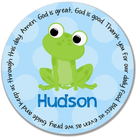 Frog Boy Personalized Kids Melamine Plate