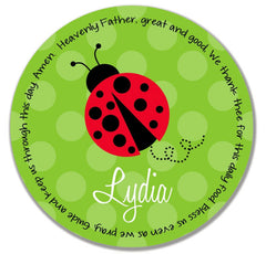 Ladybug Red Personalized Kids Melamine Plate