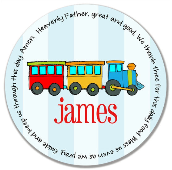 Train Personalized Kids Melamine Plate