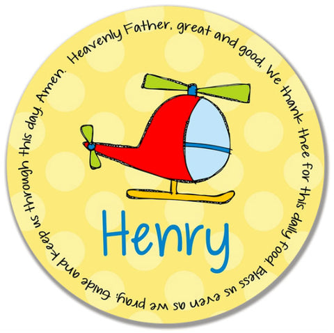 Helicopter Personalized Kids Melamine Plate