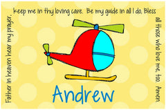 Helicopter Personalized Kids Placemat