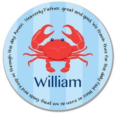 Crab Boy Personalized Kids Melamine Plate
