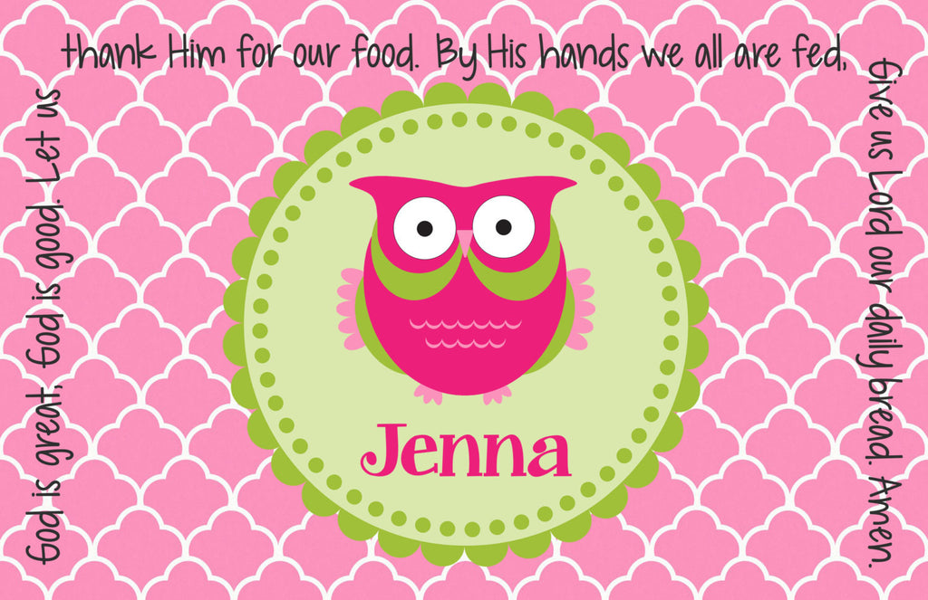 Owl Girl Personalized Kids Placemat