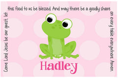 Frog Girl Personalized Kids Placemat