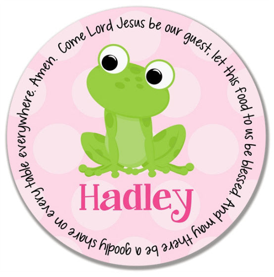 Frog Girl Personalized Kids Melamine Plate