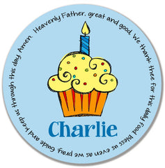 Cupcake Boy Personalized Melamine Plate