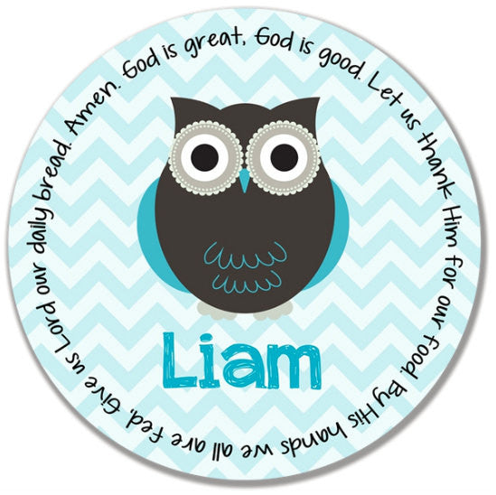 Owl Boy Personalized Kids Melamine Plate
