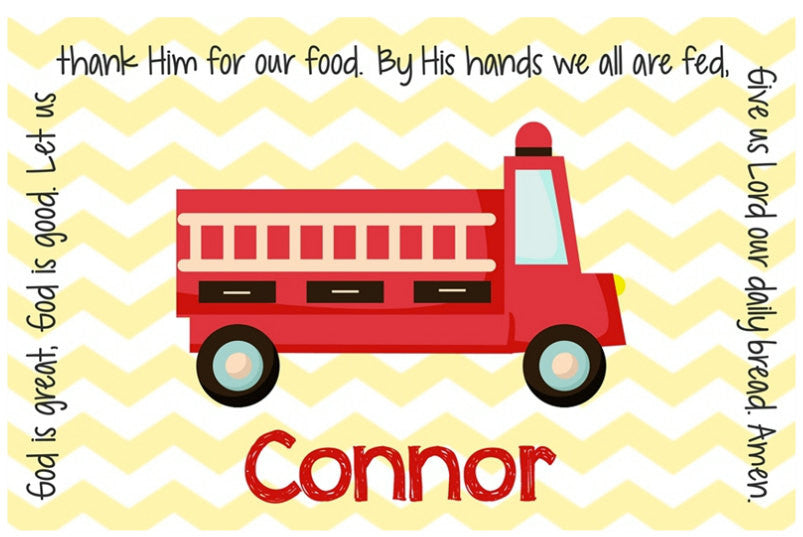Fire Truck Personalized Kids Placemat