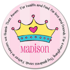 Princess Crown Personalized Kids Melamine Plate