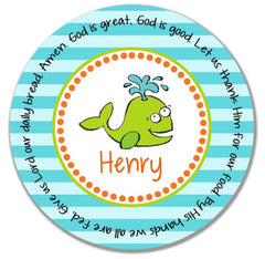 Whale Boy Personalized Kids Melamine Plate