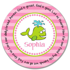 Whale Girl Personalized Kids Melamine Plate
