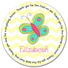 Butterfly Personalized Kids Melamine Plate