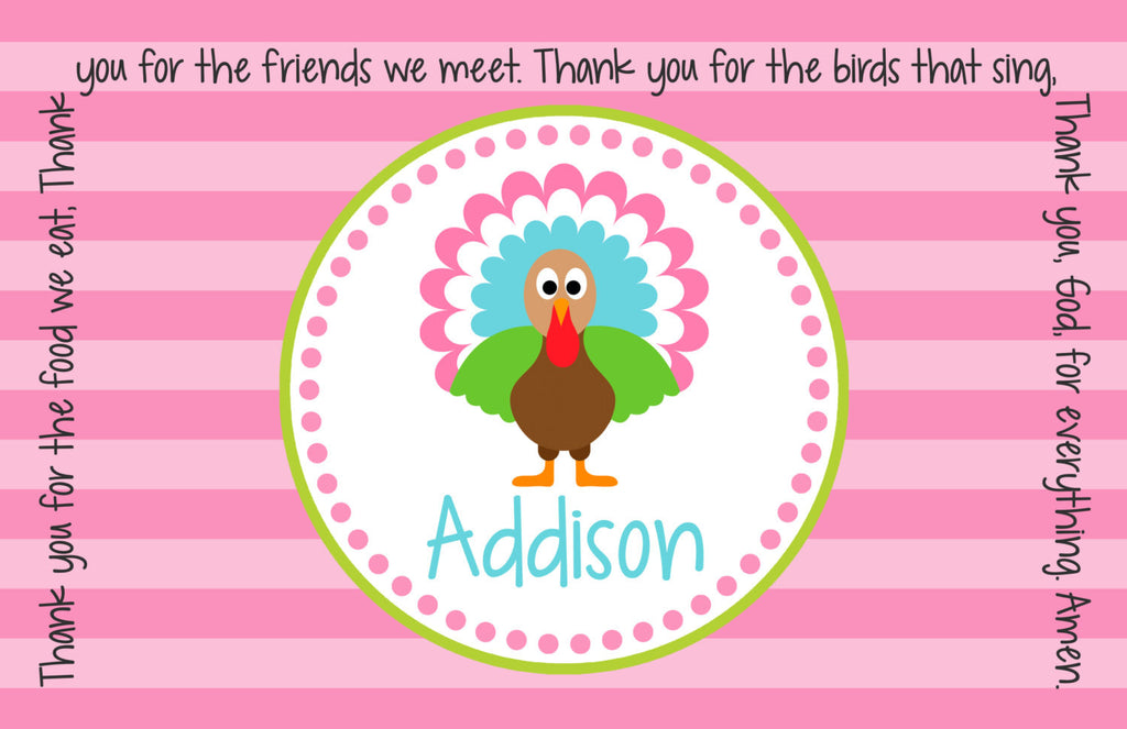 Thanksgiving Turkey Girl Personalized Kids Placemat