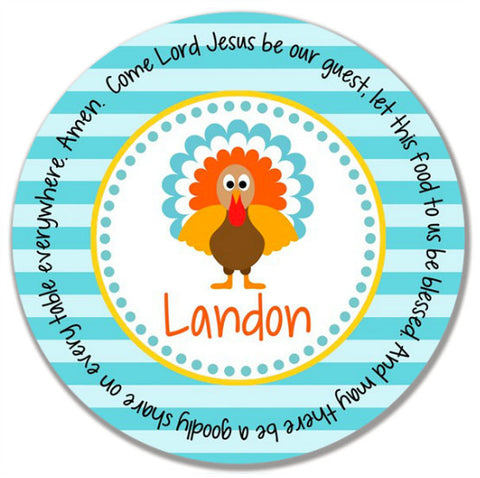 Thanksgiving Turkey Boy Personalized Kids Melamine Plate
