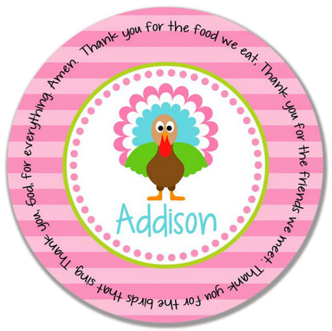 Thanksgiving Turkey Girl Personalized Kids Melamine Plate