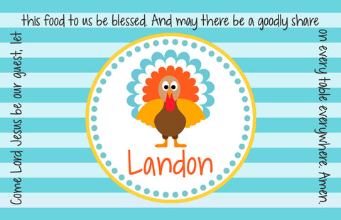 Thanksgiving Turkey Boy Personalized Kids Placemat