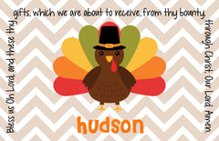 Thanksgiving Chevron Turkey Personalized Kids Placemat