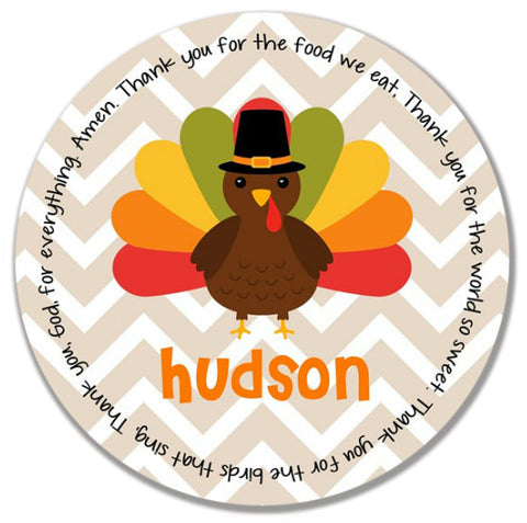 Thanksgiving Chevron Turkey Personalized Kids Melamine Plate